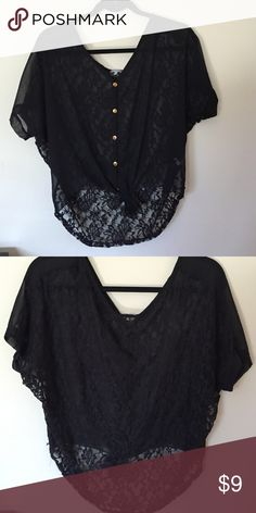 Black lace top Charlotte Russe top with lace pattern on the back and ties in the front. Bundle to save. Charlotte Russe Tops Blouses