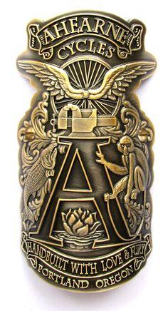 Ahearne Cycles cast bronze head tube badge
