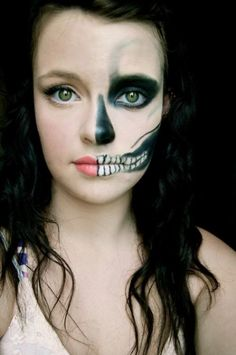 Awesome skeleton makeup half face I could see you do this @Anna Totten Kinderwater