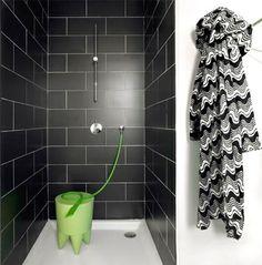 Black and white dans la douche - Douche ouverte ou à paroi vitrée : 19 exemples de douches superbes - CôtéMaison.fr
