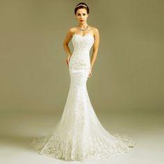 朵曼琦韩版心形V领修身鱼尾礼服新款2014拖尾蕾丝性感新娘婚纱805