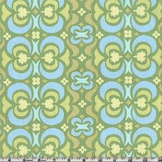 Amy Butler Midwest Modern Garden Maze Green from @fabricdotcom  Designed by Amy Butler for Westminster/Rowan Fabrics. Colors include yellow and light blue on a celadon green background. Create quilts, quilting projects, fashionable apparel or home decor.