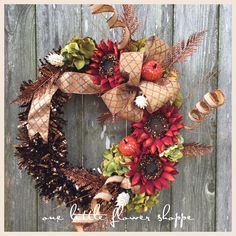 A personal favorite from my Etsy shop https://www.etsy.com/listing/481594453/fall-sunflower-wreath-red-sunflower