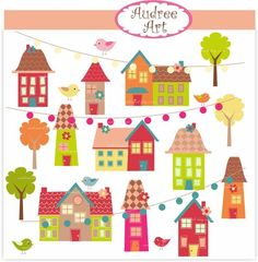 Digital clip art - little village ,  instant download clip art  , house clip art