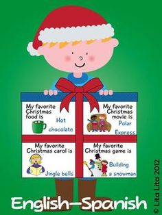 Christmas kids craftivity English and Spanish