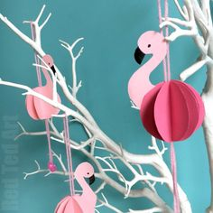 Easy Paper Flamingo Decor DIY - Summer Room Decor - Red Ted Art's Blog