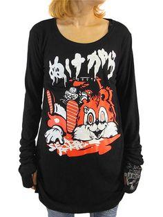 Nukegara Shirring Long Sleeve T-Shirt Black x White+Red. See more at: http://www.cdjapan.co.jp/apparel/sexpot.html #punk #jrock