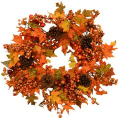 "Found it at Wayfair - Fall Leaf and Berry 24"" Door Wreath"
