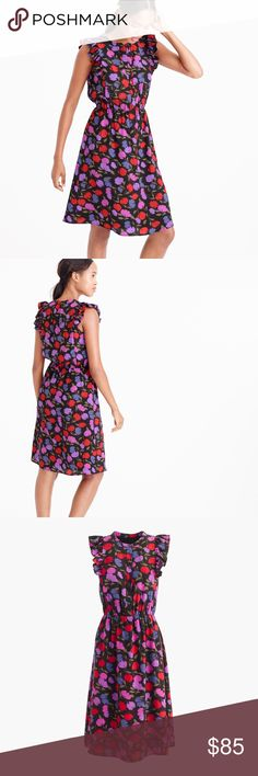EUC J.Crew Flutter Sleeve Dress in Painted Pansy This pretty silk dress features flutter sleeves, an elastic waist and a flattering knee length. Plus, a pretty floral print. Silk. Button closure. Fitted at waist. Falls above knee.  Lined. J. Crew Dresses