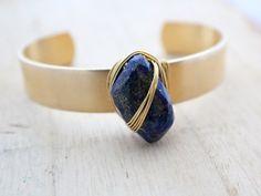 Lapis Lazuli Cuff, Boho Fashion, Cobalt Blue Gemstone Nugget & Raw Brass Wire Wrapped Bracelet - Nile on Etsy, $529.10
