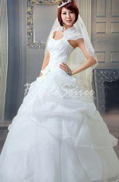 Robe de Mariée Avec Bretelles-La bande-chaussée dans un robe de mariage robes sans manches blanches à l\'extérieur de l\'épaule