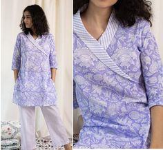 Angrakha Style, Kurti, Tunic Tops, Design, Women, Fashion, Moda, Fashion Styles