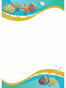 Un papier à lettre décoré avec de beaux coquillages à imprimer