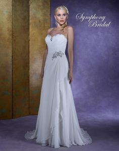 Symphony  Style #S3129  Gorgeous gown of chiffon in a slimming silhouette for an informal setting. The sweetheart neckline is accented with various beads and unique rhinestones, and similarly on the left side at the waist. There is a lace up back and a sweep train!.