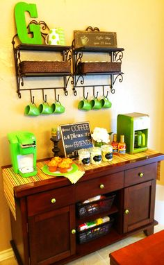 My new home coffee bar! Everything you need for a great cup of tea or coffee all in it's own special place. Green is my favorite color; I found shelves at Hobby Lobby, inspiration from Pinterest!