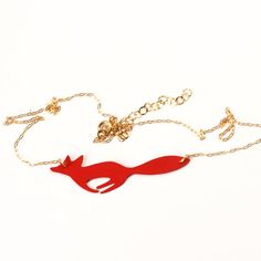 Wild Thing- RED running FOX pendant and chain