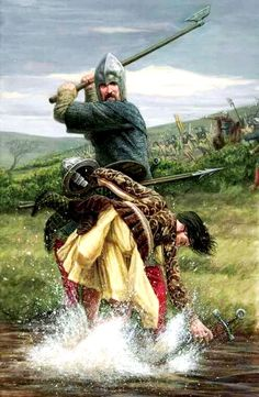 One of O'Donnell's MacSweeney Galloglass cutting down one of Shane O'Neill's Kern at the pivotal Battle of Farsetmore on the River Swilly just outside Letterkenny. Medieval Knight, Medieval Armor, Medieval Fantasy, Military Art, Military History, Les Runes, Renaissance, Irish Warrior, Celtic Warriors