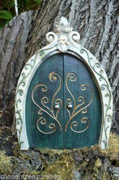 Fairy Door Village Statue Green 8 in Yard Granddaughter Gift Faerie Garden Art | eBay