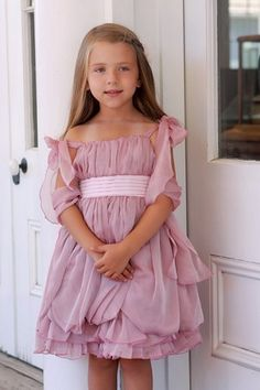 Sweet Pattis Dusty Pink Rose Chiffon with Pleated Bodice Dress