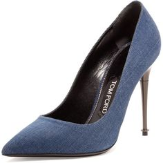 TOM FORD Denim 105mm Pin-Heel Pump ($790) ❤ liked on Polyvore featuring shoes, pumps, heels, jeans, tom ford shoes, pointy toe high heel pumps, slipon shoes, heels & pumps and pointed toe high heel pumps