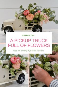A Pickup Truck Full of Flowers spring DIY, pickup truck planter, tips on arranging faux flowers Plum Flowers, Seasonal Flowers, Colorful Flowers, Seasonal Decor, Spring Flowers, Flowers Garden, Tropical Flowers, Pick Up, Flower Truck