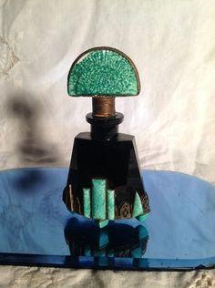 Antique Art Deco Black Crystal Glass Malachite Czech Perfume Bottle Jeweled Fili | eBay