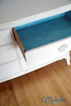 Surprise pop of colour (Provence wash over white) in drawers