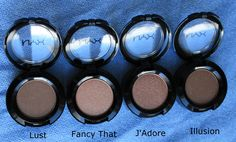 NYX Hot Singles eye shadow in Lust, Fancy That, J'Adore, and Illusion