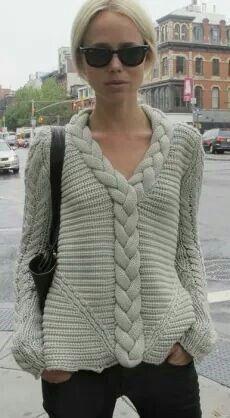 Image result for bluson mujer tejido a mano con palillos