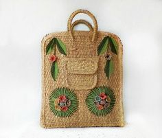 50's Straw Bag/Tote, Vintage Hand Embroidered Floral Straw Purse, Fifties Straw Tote , Large Tote Bag, Vintage Fashion, Vintage Accessories