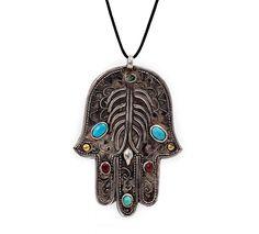 Vintage Hamsa or Hand of Fatima Necklace