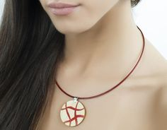 Wood inlay pendant, Jewelry design, Wooden necklace, Wood accessories, Red white, Wooden jewelry, Jewelry women