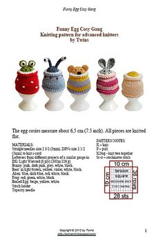 Funny Egg Cosy Gang by Ala Ela  ~ PATTERN FOR SALE. Link correct when I checked on 04/09/2015 KNITTED ITEM