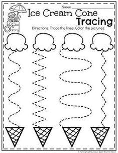 Preschool Tracing Worksheets in an Ice Cream Theme Preschool Learning Activities, Preschool Curriculum, Free Preschool, Preschool Crafts, Summer Preschool Themes, Vocabulary Activities, Spanish Activities, Teaching Spanish, Summer Activities For Preschoolers