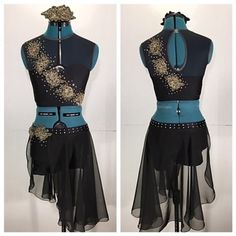 "Custom Contemporary Dance Costume in Black and Gold - ""#88"""