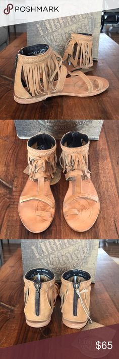 ✨NEW✨ Prairie Grass Leather Sandals Brand new in box!! Add a bit of Boho-chic style to your look with these becoming fringed leather sandals by Liberty Black for Sundance Catalog.   Artful, leather fringe seats with each step in these handcrafted sandals. Sundance Shoes Sandals