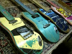 guitars made from used skateboards. In the article the artist discusses how the used skateboard have lots of wear showing, which will translate into some mean music. I like this 'genuine' wear rather than those custom shop 'relics'.