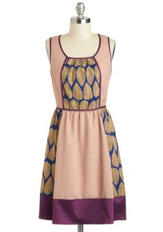 Laura's Living Life to the Coolest Dress by Ryu - Mid-length, Multi, Yellow, Blue, Purple, Pink, Polka Dots, Print, Bows, Casual, A-line, Sleeveless, Scoop, Vintage Inspired