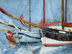 Parcels in the harbor (c) #watercolor with windjammers FRank Koebsch; 36 x cm, $340