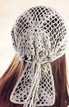 crochet cap gypsy style ♥ With diagram ♥♥♥ Crochet Cap, Crochet Beanie, Crochet Scarves, Crochet Shawl, Crochet Clothes, Free Crochet, Crochet Bikini, Crochet Summer Hats, Crochet Hair Accessories