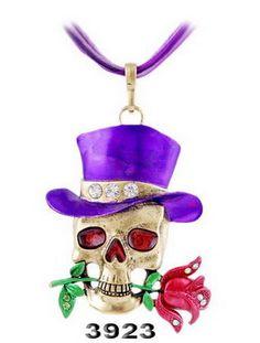 Vintage Retro Skeleton Skull Skeleton Charm Pendant Necklace Fashion Jewelry wholesale charms Lovely Skull skeleton Necklace