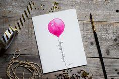 Items similar to Geburtstagskarte, Rosa Ballon, Geburtstag, Karte Geburtstag…