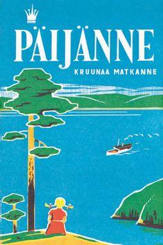Old postcard picturing lake Päijänne, Finland