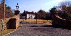 custom iron security gates, ornamental wrought iron entry gates, iron estate gates, driveway entry gates, MA, RI