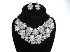 Rhinestone Crystal Bridal Statement Necklace by bloomsnbrides, $68.00