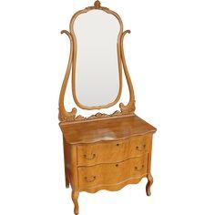 Antique Late Victorian Birds-Eye Maple 2 Drawer Princess Dresser w/ Swivel Mirror c1900