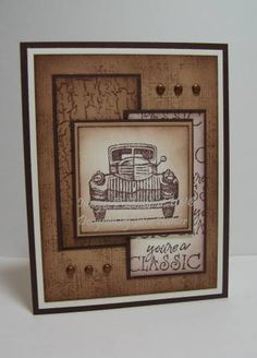 Poster:  reneejul1    Stamps: classic pickups, weathered, flannel  Paper: chocolate chip, creamy caramel, very vanilla  Ink: chocolate chip, creamy caramel  Accessories: sponge, dimensionals, brads  Techniques: sponging