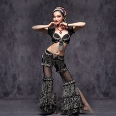 Tribal Belly Dance Training Clothes Outfit Sexy Lace Crop Tops Hip Belt and Pants Women Dance Costume
