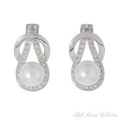 Classic pearl earrings studded with Swarovski's clear crystals from Fifth Avenue Collection.