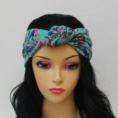 Stretchy Aqua Bohemian Floral Jersey Knot Headband Turban Scarf Yoga Hairband Urban Turban Hair Band Head Wrap. $24.00, via Etsy.
